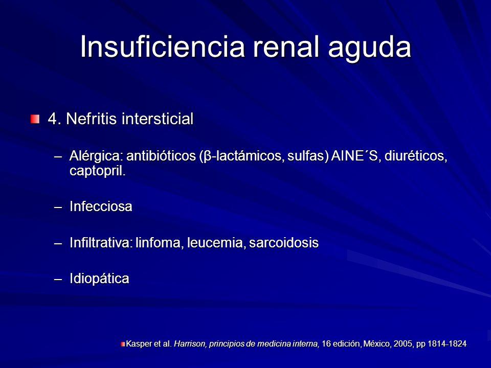 Insuficiencia renal aguda 4. Nefritis intersticial –Alérgica: antibióticos (β-lactámicos, sulfas) AINE´S, diuréticos, captopril. –Infecciosa –Infiltra