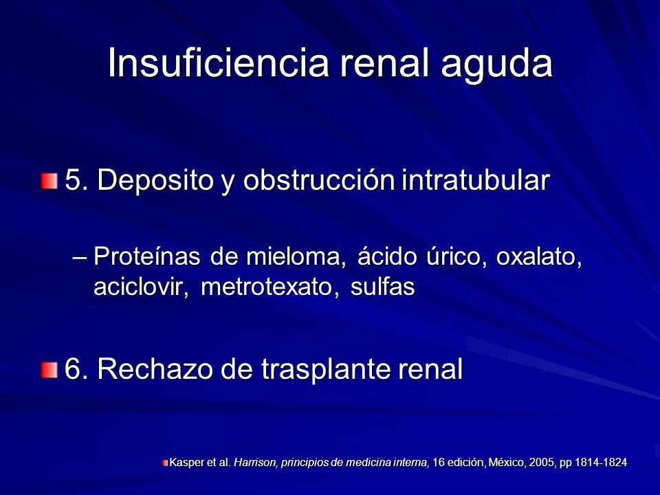 Insuficiencia renal aguda 5. Deposito y obstrucción intratubular –Proteínas de mieloma, ácido úrico, oxalato, aciclovir, metrotexato, sulfas 6. Rechaz