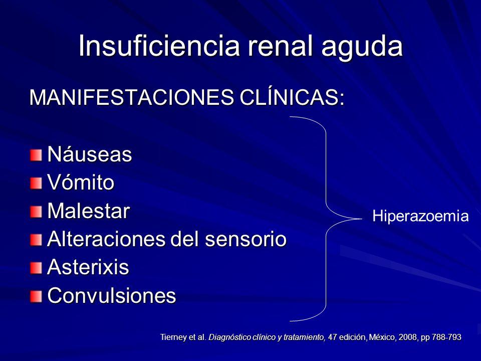 Insuficiencia renal aguda MANIFESTACIONES CLÍNICAS: NáuseasVómitoMalestar Alteraciones del sensorio AsterixisConvulsiones Hiperazoemia ney et al. Diag