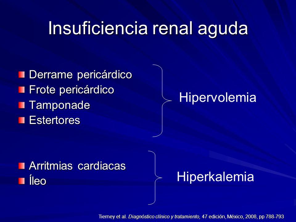Insuficiencia renal aguda Derrame pericárdico Frote pericárdico TamponadeEstertores Arritmias cardiacas Íleo Hipervolemia Hiperkalemia ney et al. Diag
