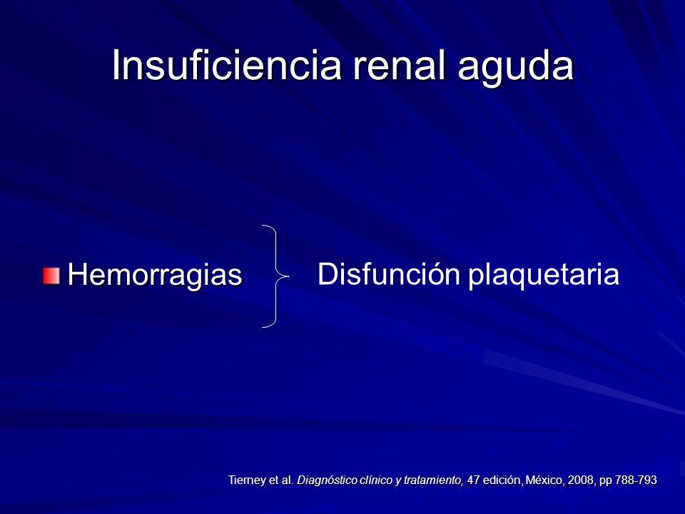 Insuficiencia renal aguda Hemorragias Disfunción plaquetaria ney et al. Diagnóstico clínico y tratamiento, 47 edición, México, 2008, pp 788-793 Tierne
