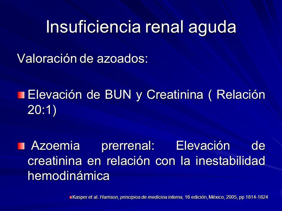 Insuficiencia renal aguda Valoración de azoados: Elevación de BUN y Creatinina ( Relación 20:1) Azoemia prerrenal: Elevación de creatinina en relación