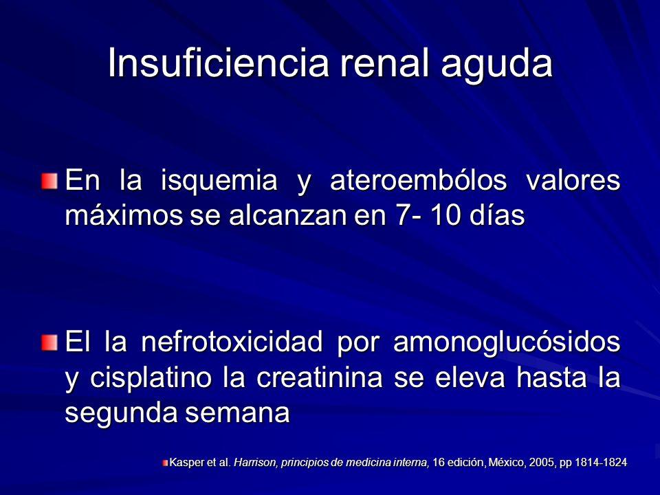 Insuficiencia renal aguda En la isquemia y ateroembólos valores máximos se alcanzan en 7- 10 días El la nefrotoxicidad por amonoglucósidos y cisplatin