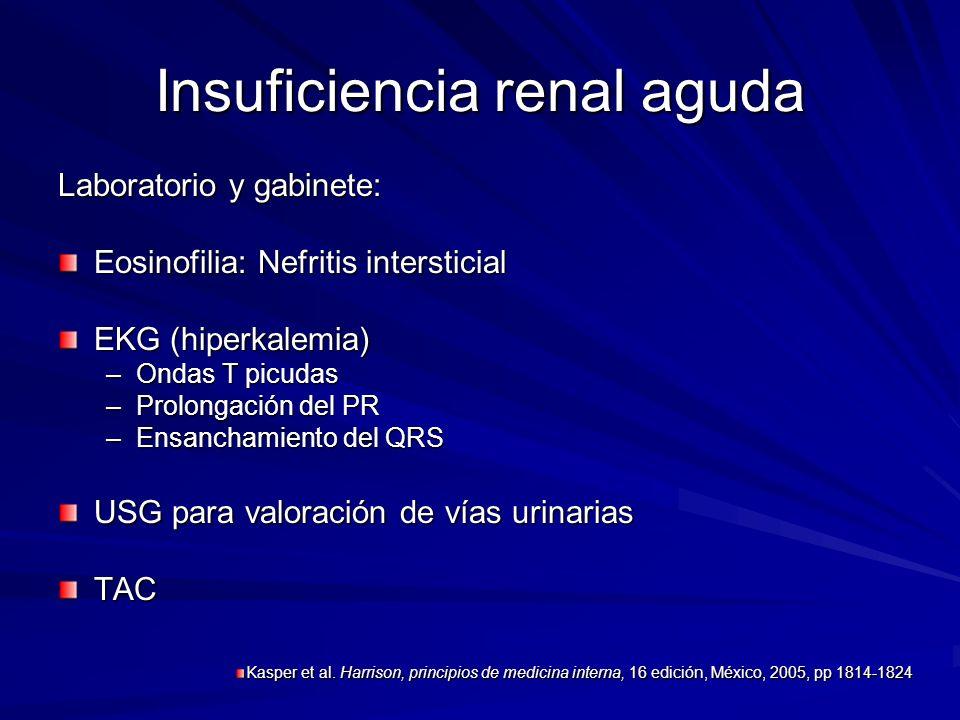 Insuficiencia renal aguda Laboratorio y gabinete: Eosinofilia: Nefritis intersticial EKG (hiperkalemia) –Ondas T picudas –Prolongación del PR –Ensanch