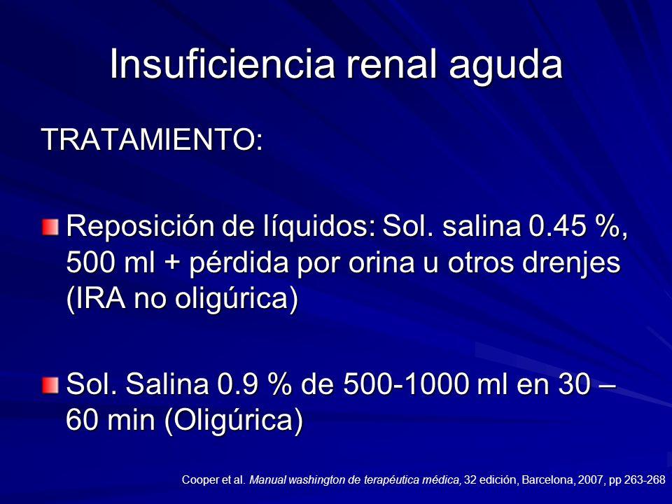 Insuficiencia renal aguda TRATAMIENTO: Reposición de líquidos: Sol. salina 0.45 %, 500 ml + pérdida por orina u otros drenjes (IRA no oligúrica) Sol.