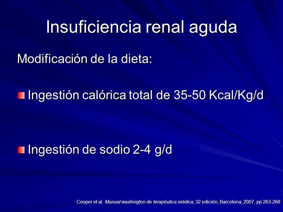 Insuficiencia renal aguda Modificación de la dieta: Ingestión calórica total de 35-50 Kcal/Kg/d Ingestión de sodio 2-4 g/d Cooper et al. Manual washin