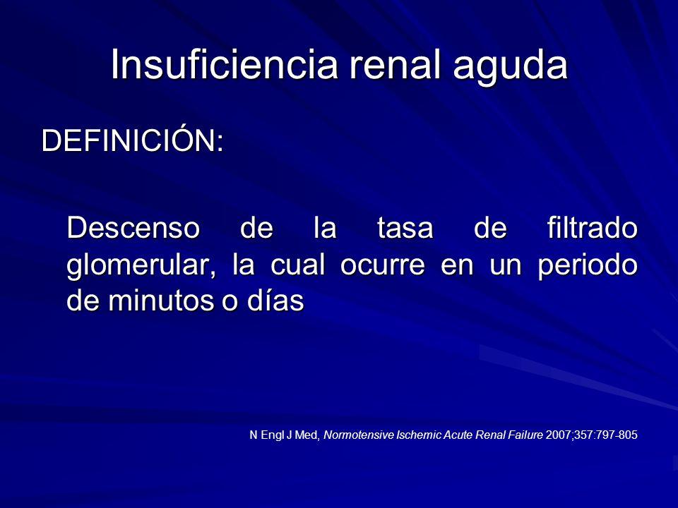 Insuficiencia renal aguda DEFINICIÓN: Descenso de la tasa de filtrado glomerular, la cual ocurre en un periodo de minutos o días Descenso de la tasa d