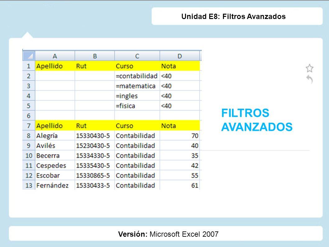 FILTROS AVANZADOS Versión: Microsoft Excel 2007 Unidad E8: Filtros Avanzados