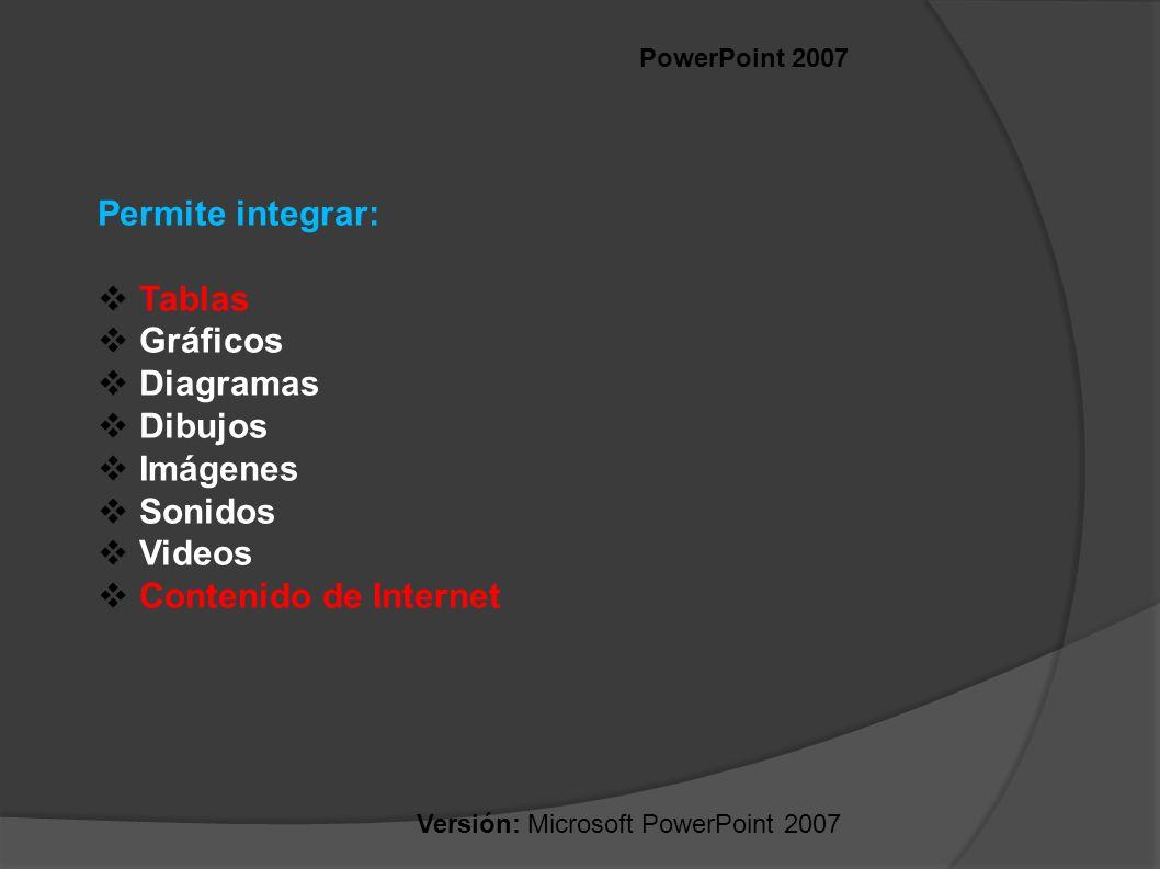 Versión: Microsoft PowerPoint 2007 PowerPoint 2007 Permite integrar: Tablas Gráficos Diagramas Dibujos Imágenes Sonidos Videos Contenido de Internet