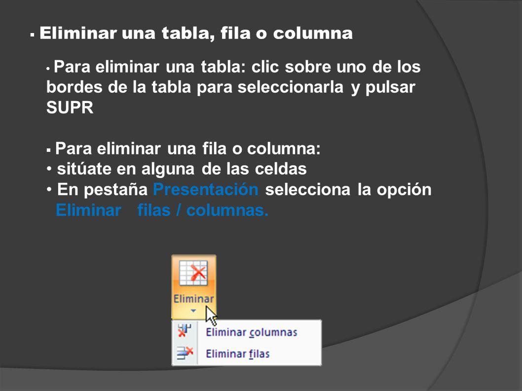 Eliminar una tabla, fila o columna Para eliminar una tabla: clic sobre uno de los bordes de la tabla para seleccionarla y pulsar SUPR Para eliminar un