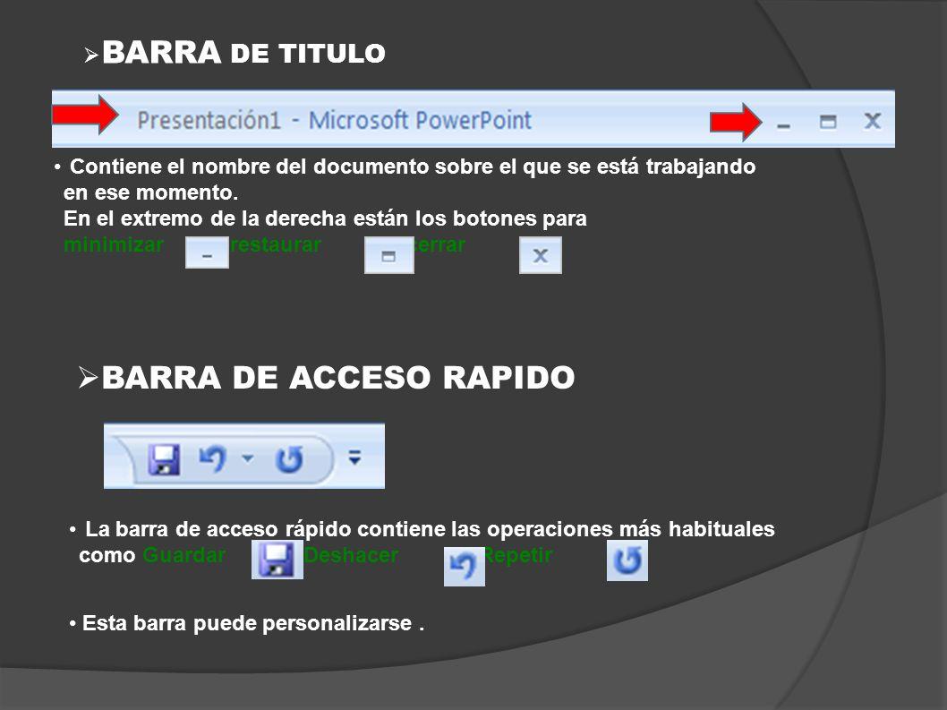 BARRA DE TITULO BARRA DE ACCESO RAPIDO Contiene el nombre del documento sobre el que se está trabajando en ese momento. En el extremo de la derecha es