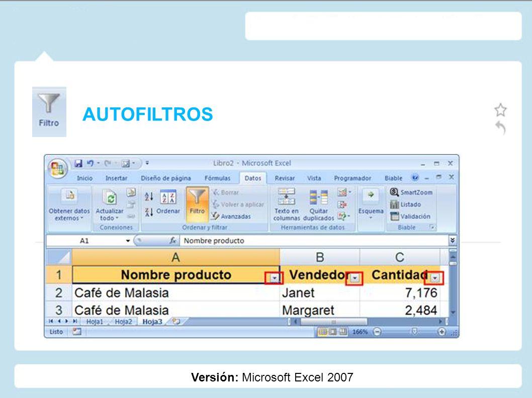 AUTOFILTROS Versión: Microsoft Excel 2007