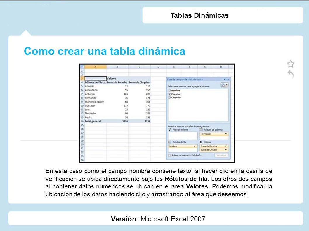 Como crear una tabla dinámica Versión: Microsoft Excel 2007 Tablas Dinámicas En este caso como el campo nombre contiene texto, al hacer clic en la cas
