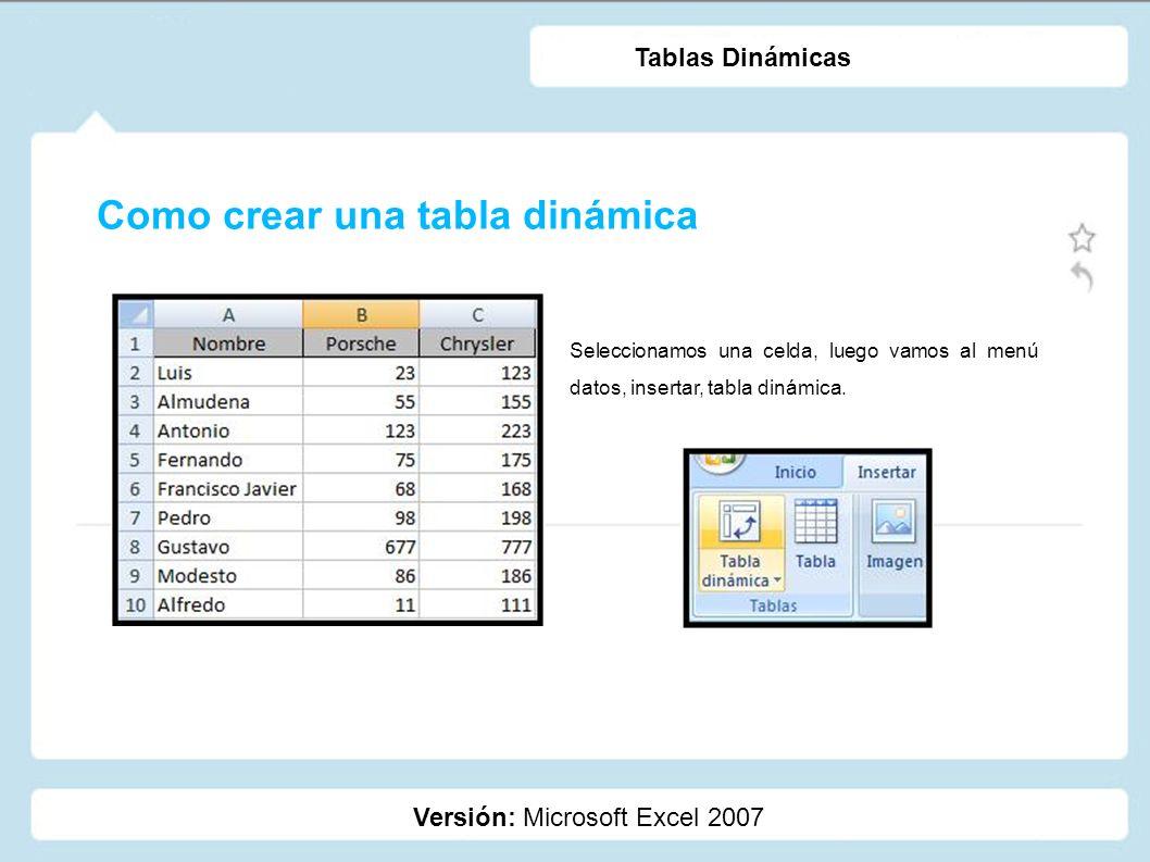 Como crear una tabla dinámica Versión: Microsoft Excel 2007 Tablas Dinámicas Se abrirá automáticamente el cuadro de diálogo Crear tabla dinámica con el rango de datos deseado