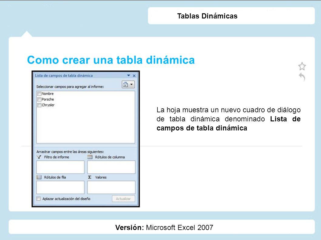 Como crear una tabla dinámica Versión: Microsoft Excel 2007 Tablas Dinámicas En la parte superior de dicho cuadro de diálogo aparecen los campos de nuestra tabla de datos original.