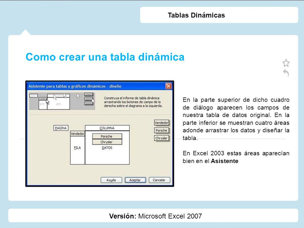 Como crear una tabla dinámica Versión: Microsoft Excel 2007 Tablas Dinámicas En la parte superior de dicho cuadro de diálogo aparecen los campos de nu