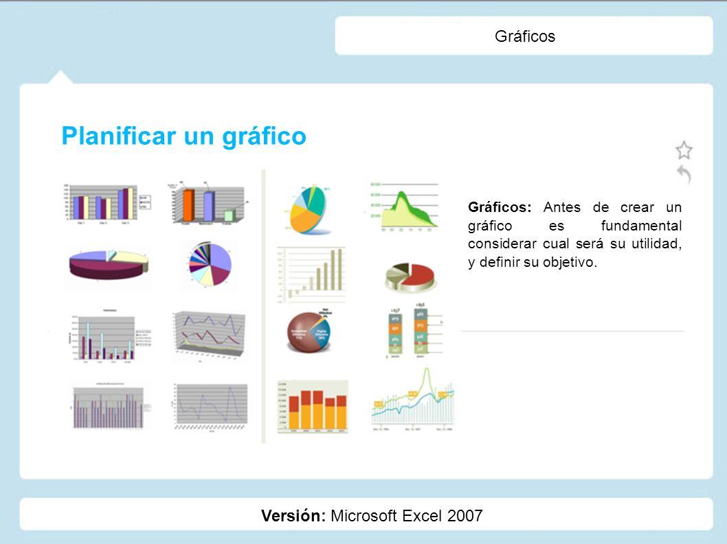Gráficos Versión: Microsoft Excel 2007 Gráficos: Antes de crear un gráfico es fundamental considerar cual será su utilidad, y definir su objetivo. Pla