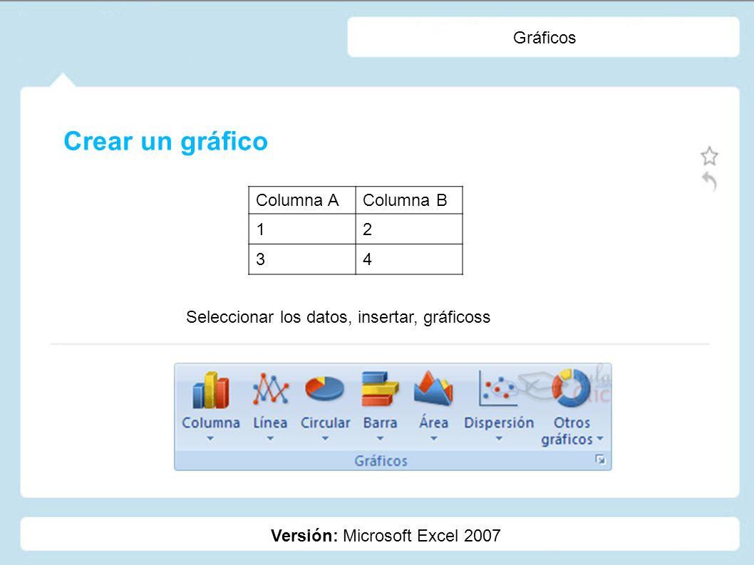 Gráficos Versión: Microsoft Excel 2007 Crear un gráfico Columna AColumna B 12 34 Seleccionar los datos, insertar, gráficoss