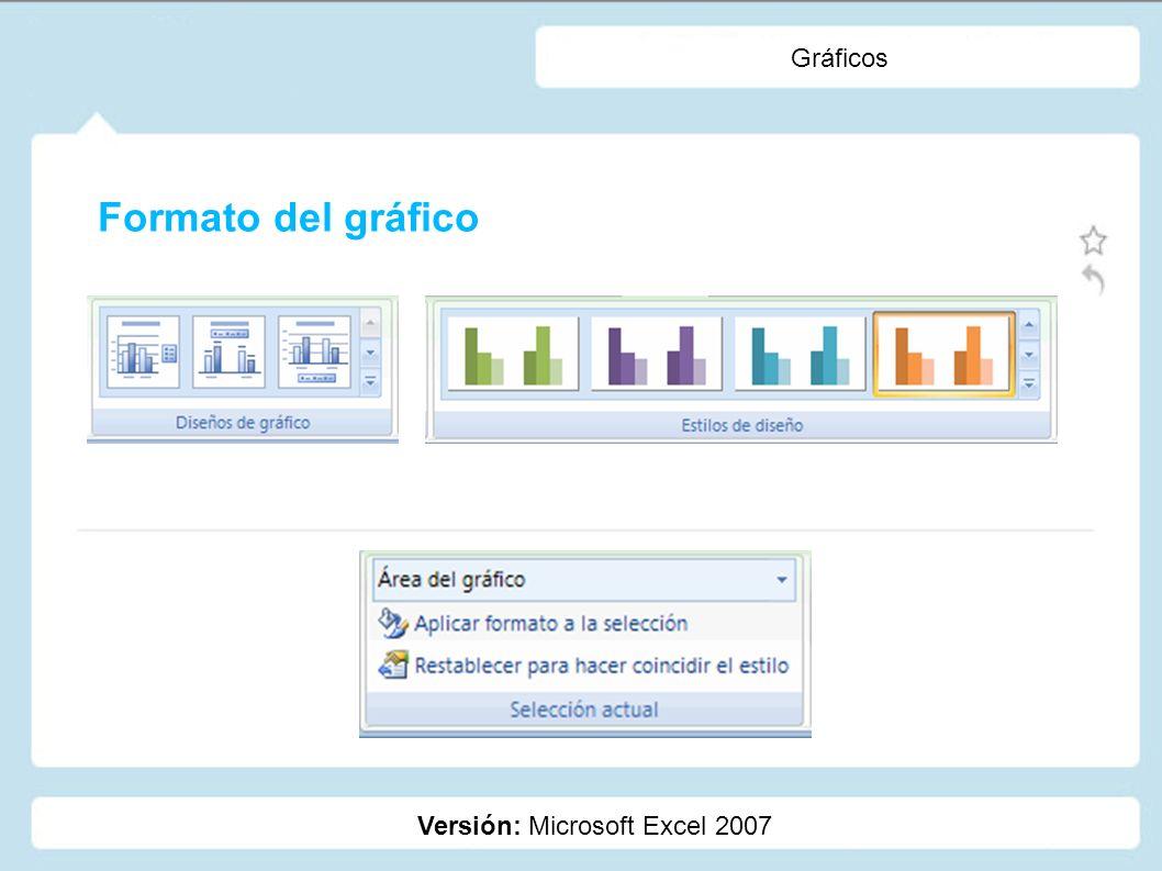 Gráficos Versión: Microsoft Excel 2007 Formato del gráfico