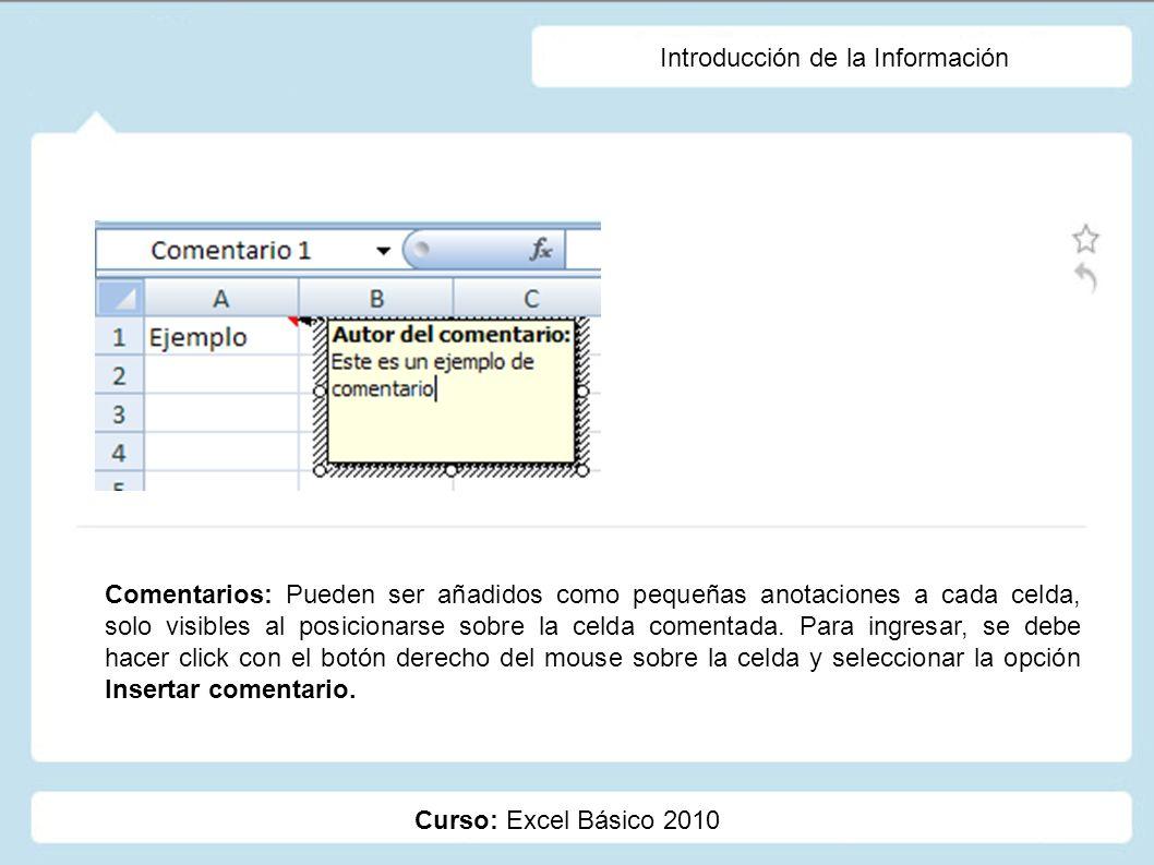 Curso: Excel Básico 2010 Introducción de la Información Comentarios: Pueden ser añadidos como pequeñas anotaciones a cada celda, solo visibles al posi