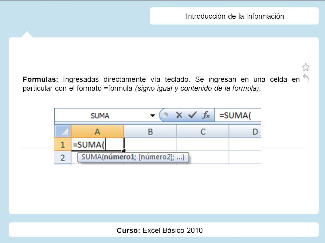 Curso: Excel Básico 2010 Introducción de la Información Formulas: Ingresadas directamente vía teclado. Se ingresan en una celda en particular con el f