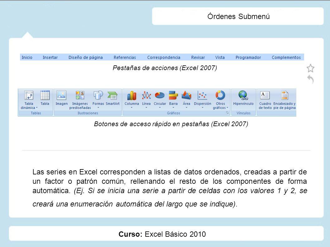 Curso: Excel Básico 2010 Órdenes Submenú Las series en Excel corresponden a listas de datos ordenados, creadas a partir de un factor o patrón común, r
