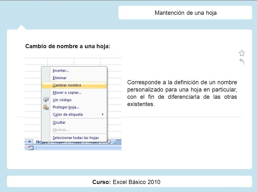Curso: Excel Básico 2010 Mantención de una hoja Cambio de nombre a una hoja: Corresponde a la definición de un nombre personalizado para una hoja en p