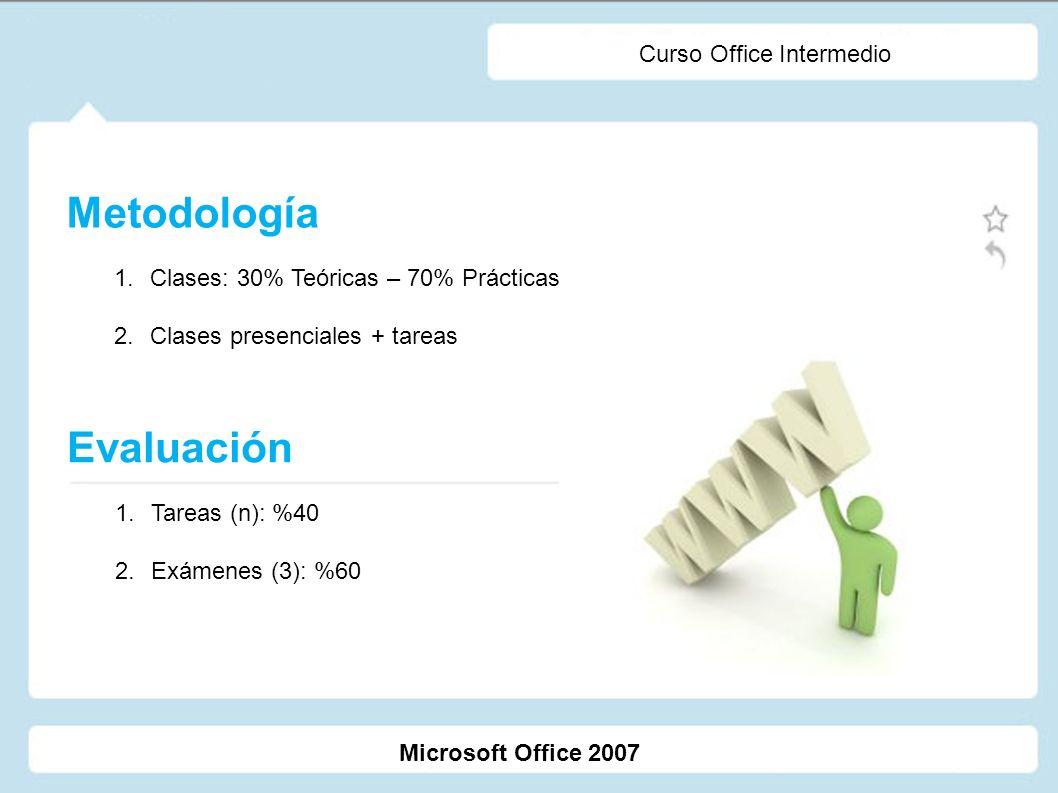 Microsoft Office 2007 Curso Office Intermedio Metodología 1.Clases: 30% Teóricas – 70% Prácticas 2.Clases presenciales + tareas Evaluación 1.Tareas (n