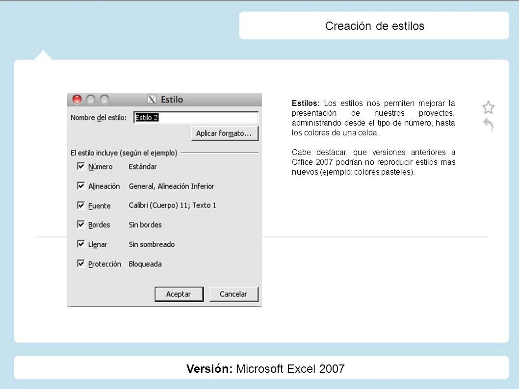 Creación de estilos Versión: Microsoft Excel 2007 Estilos: Los estilos nos permiten mejorar la presentación de nuestros proyectos, administrando desde
