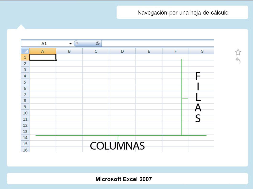 Navegación por una hoja de cálculo Microsoft Excel 2007