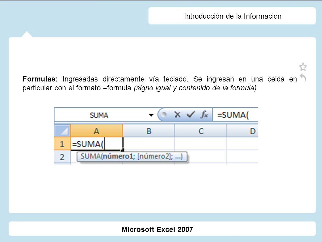 Introducción de la Información Formulas: Ingresadas directamente vía teclado. Se ingresan en una celda en particular con el formato =formula (signo ig