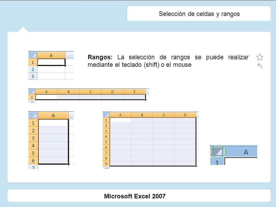 Selección de celdas y rangos Rangos: La selección de rangos se puede realizar mediante el teclado (shift) o el mouse Microsoft Excel 2007