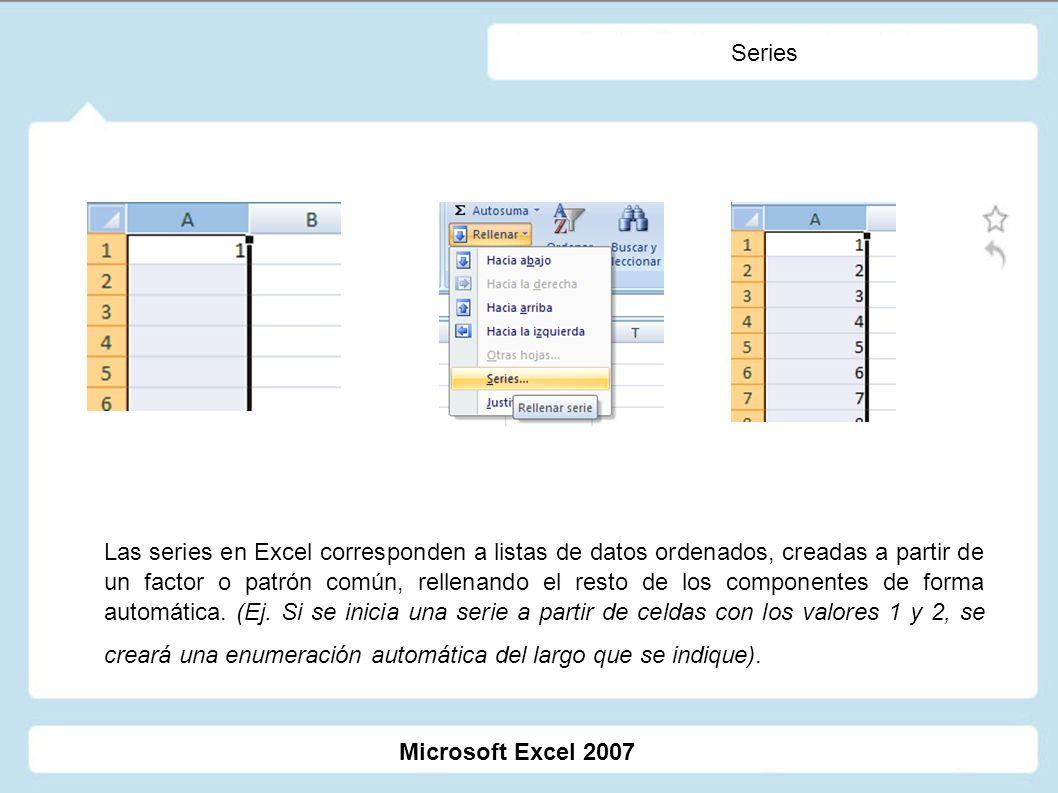 Series Las series en Excel corresponden a listas de datos ordenados, creadas a partir de un factor o patrón común, rellenando el resto de los componen