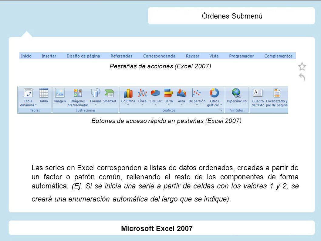 Órdenes Submenú Las series en Excel corresponden a listas de datos ordenados, creadas a partir de un factor o patrón común, rellenando el resto de los