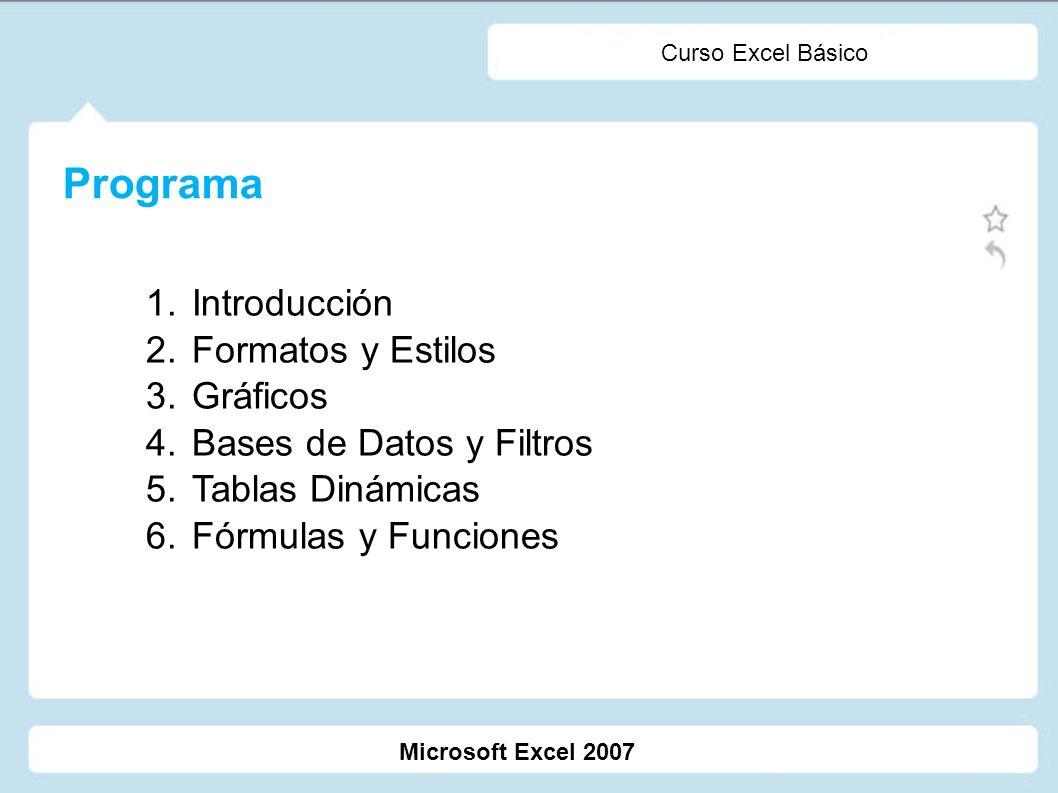 Microsoft Excel 2007 Curso Excel Básico Programa 1. Introducción 2. Formatos y Estilos 3. Gráficos 4. Bases de Datos y Filtros 5. Tablas Dinámicas 6.