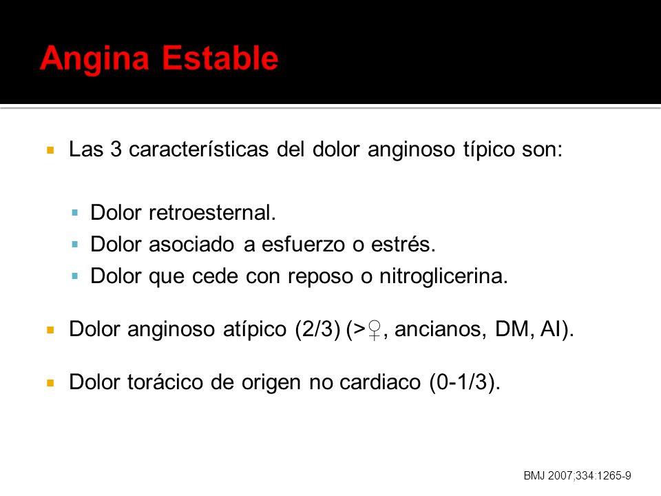 Las 3 características del dolor anginoso típico son: Dolor retroesternal. Dolor asociado a esfuerzo o estrés. Dolor que cede con reposo o nitrogliceri
