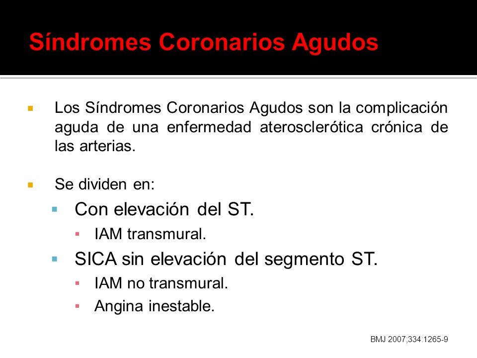 Los Síndromes Coronarios Agudos son la complicación aguda de una enfermedad aterosclerótica crónica de las arterias. Se dividen en: Con elevación del