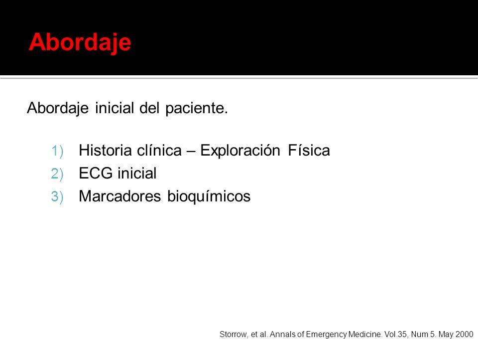 Abordaje inicial del paciente. 1) Historia clínica – Exploración Física 2) ECG inicial 3) Marcadores bioquímicos Storrow, et al. Annals of Emergency M