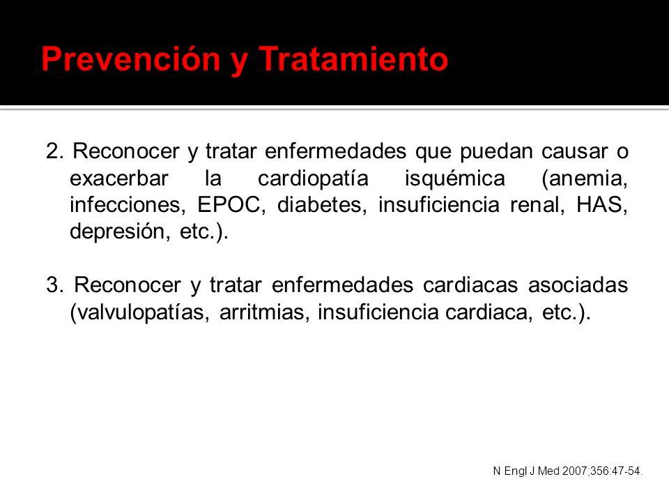 2. Reconocer y tratar enfermedades que puedan causar o exacerbar la cardiopatía isquémica (anemia, infecciones, EPOC, diabetes, insuficiencia renal, H