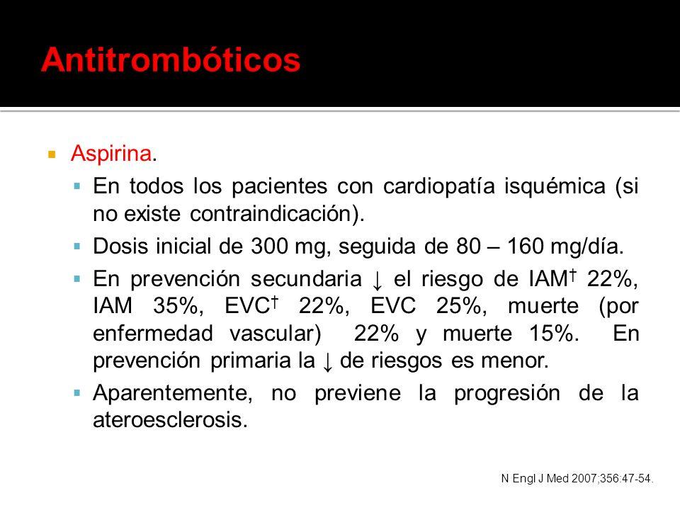 Aspirina. En todos los pacientes con cardiopatía isquémica (si no existe contraindicación). Dosis inicial de 300 mg, seguida de 80 – 160 mg/día. En pr