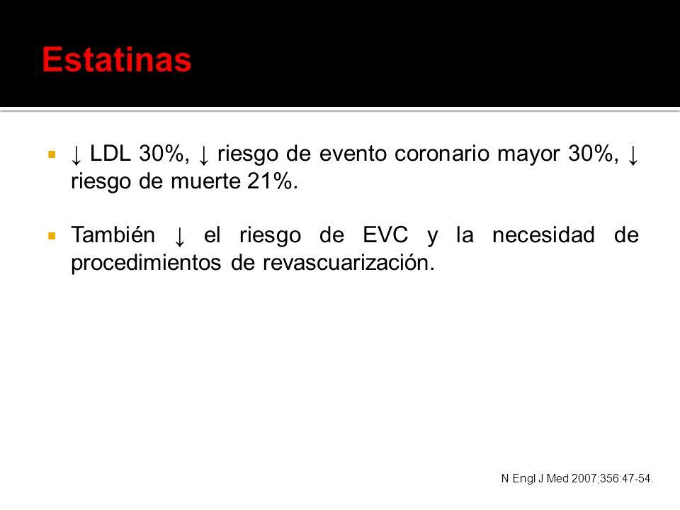 LDL 30%, riesgo de evento coronario mayor 30%, riesgo de muerte 21%. También el riesgo de EVC y la necesidad de procedimientos de revascuarización. N