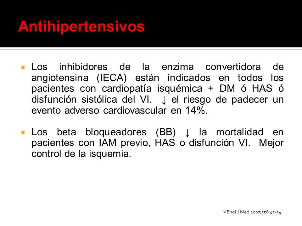 Los inhibidores de la enzima convertidora de angiotensina (IECA) están indicados en todos los pacientes con cardiopatía isquémica + DM ó HAS ó disfunc