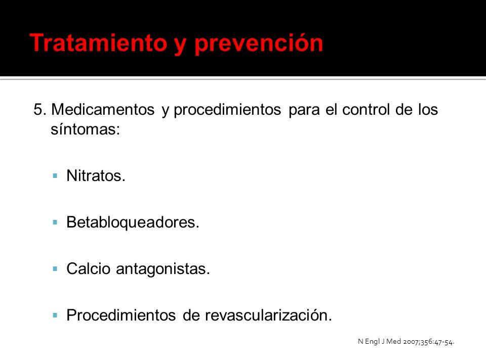 5. Medicamentos y procedimientos para el control de los síntomas: Nitratos. Betabloqueadores. Calcio antagonistas. Procedimientos de revascularización