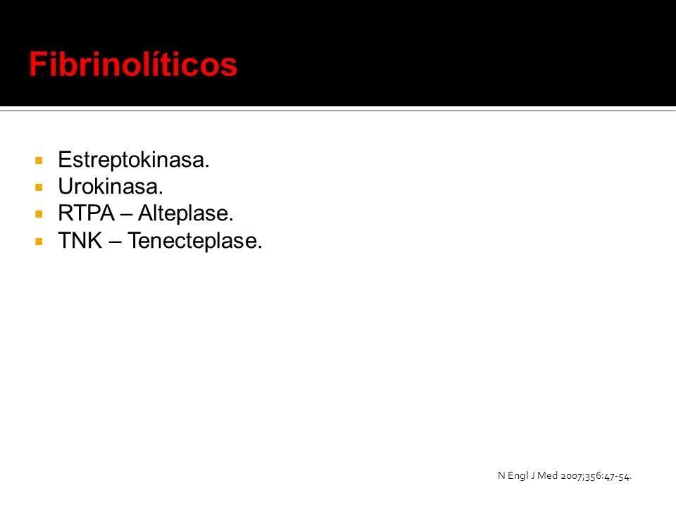 Estreptokinasa. Urokinasa. RTPA – Alteplase. TNK – Tenecteplase. N Engl J Med 2007;356:47-54.