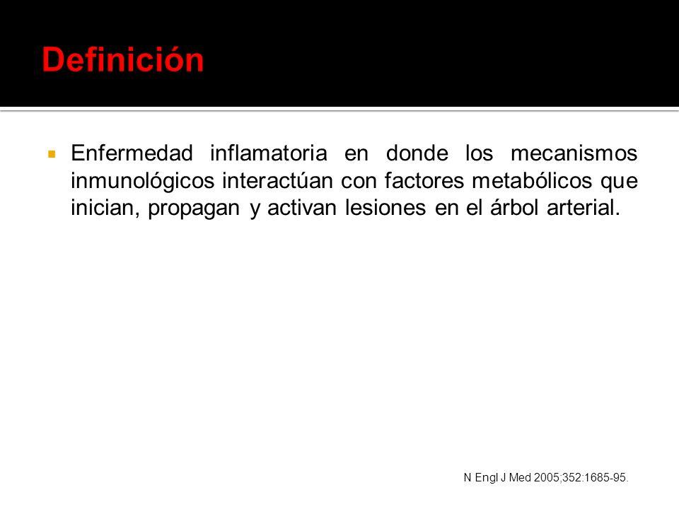 Enfermedad inflamatoria en donde los mecanismos inmunológicos interactúan con factores metabólicos que inician, propagan y activan lesiones en el árbo