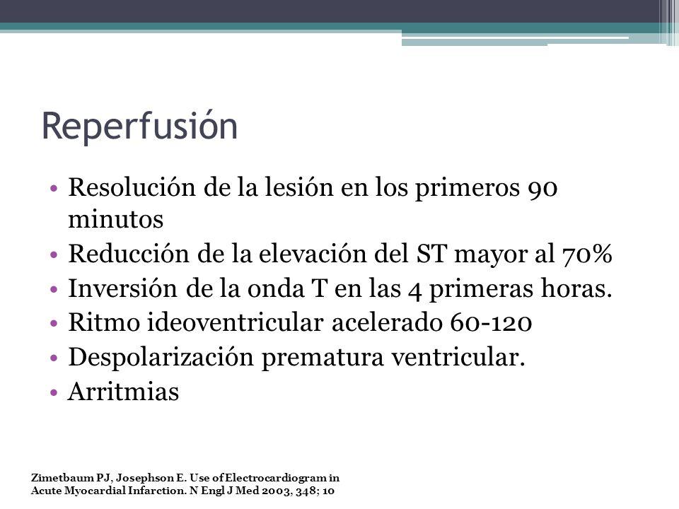 Reperfusión Resolución de la lesión en los primeros 90 minutos Reducción de la elevación del ST mayor al 70% Inversión de la onda T en las 4 primeras