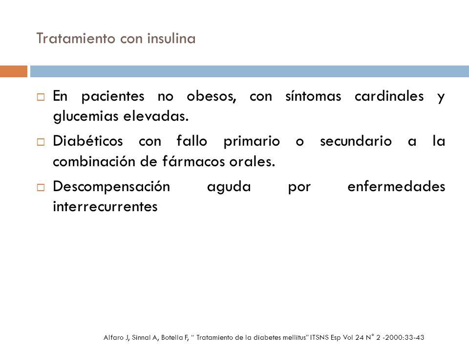 Tratamiento con insulina En pacientes no obesos, con síntomas cardinales y glucemias elevadas. Diabéticos con fallo primario o secundario a la combina