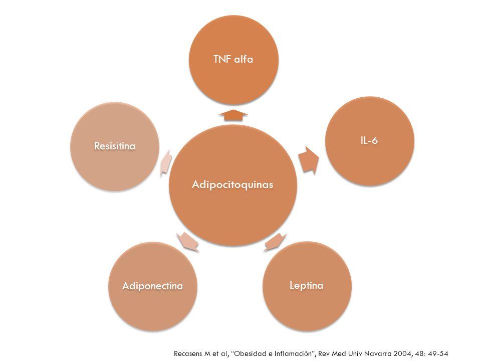 Adipocitoquinas TNF alfaIL-6LeptinaAdiponectinaResisitina Recasens M et al, Obesidad e Inflamación, Rev Med Univ Navarra 2004, 48: 49-54