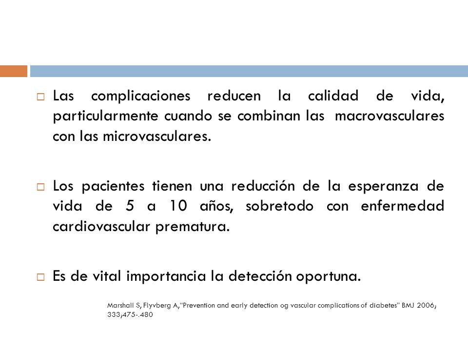 Las complicaciones reducen la calidad de vida, particularmente cuando se combinan las macrovasculares con las microvasculares. Los pacientes tienen un
