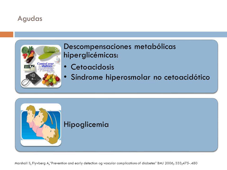 Agudas Descompensaciones metabólicas hiperglicémicas: Cetoacidosis Síndrome hiperosmolar no cetoacidótico Hipoglicemia Marshall S, Flyvberg A,Preventi